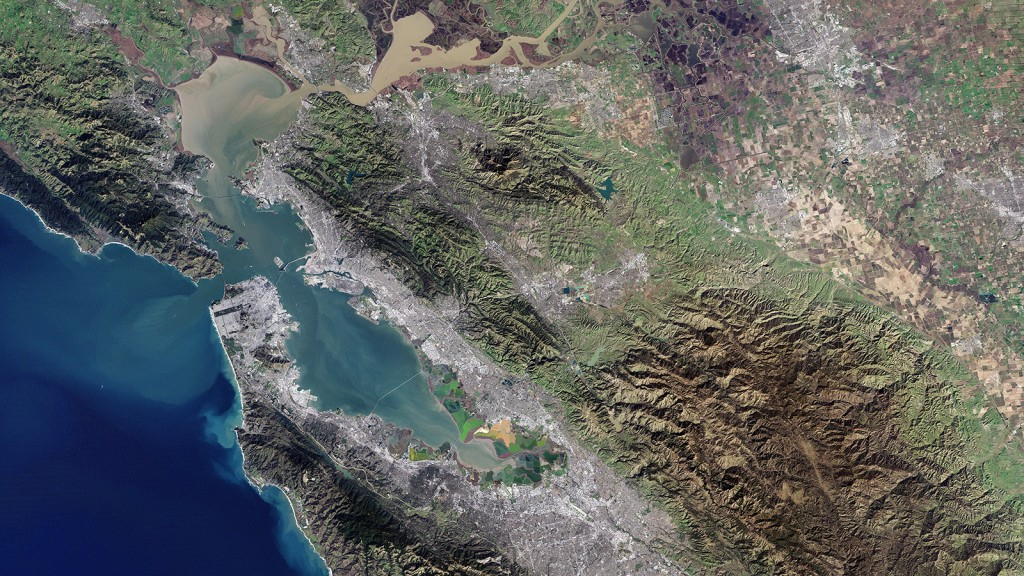 A satellite photograph of the Bay and the Delta
